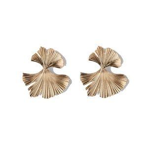 4/$25 • Golden Ginkgo Drop Earrings